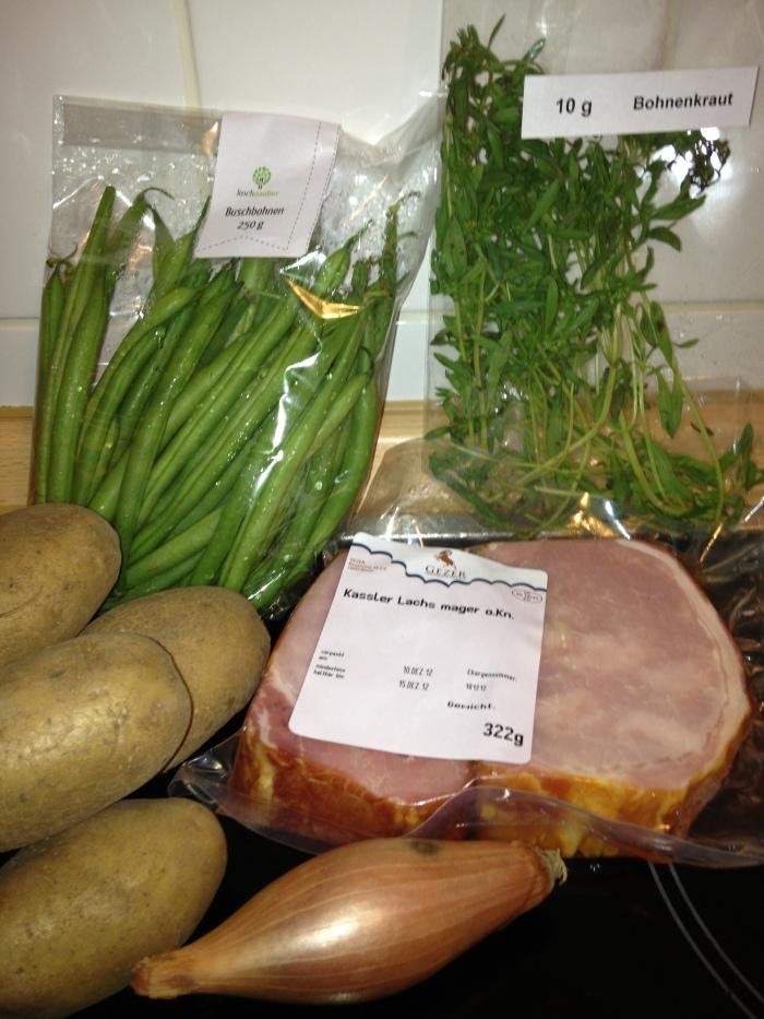 Zutaten für die Kartoffel-Bohnen-Kassler-Pfanne